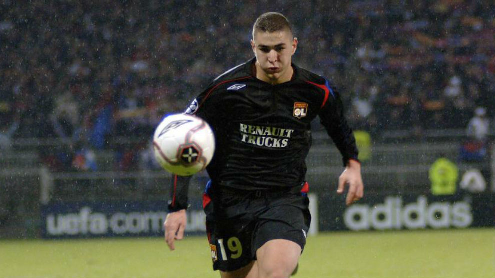 Benzema on the day of his debut with Lyon in the Champions League.