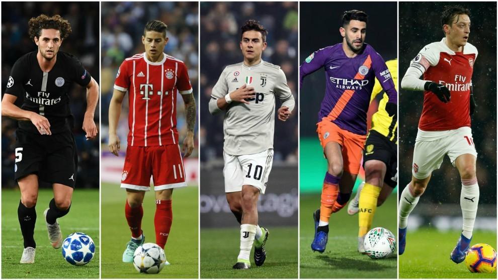 Rabiot, James, Dybala, Mahrez and Özil.