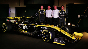 Hulkenberg, Abiteboul, Stoll y Ricciardo.