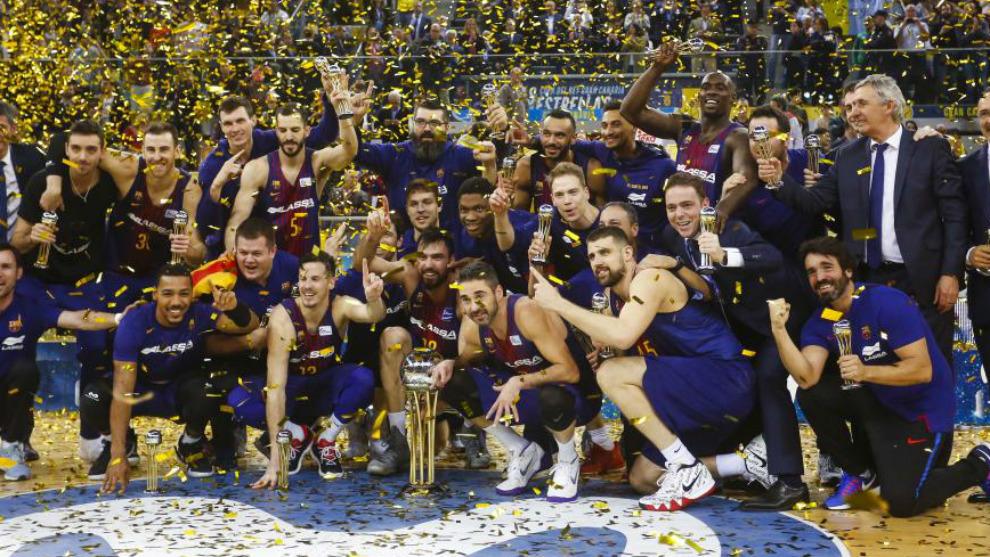 El Barcelona celebra la Copa del Rey de baloncesto en 2018
