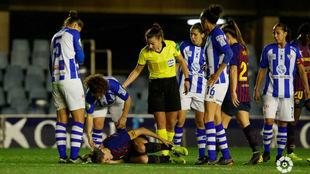Lance del partido entre Barcelona y Sporting de Huelva en el Mini...