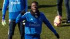 Vinicius durante un entrenamiento con el Real Madrid.