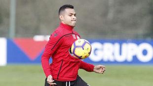 Nahuel duante un entrenamiento con el Deportivo.