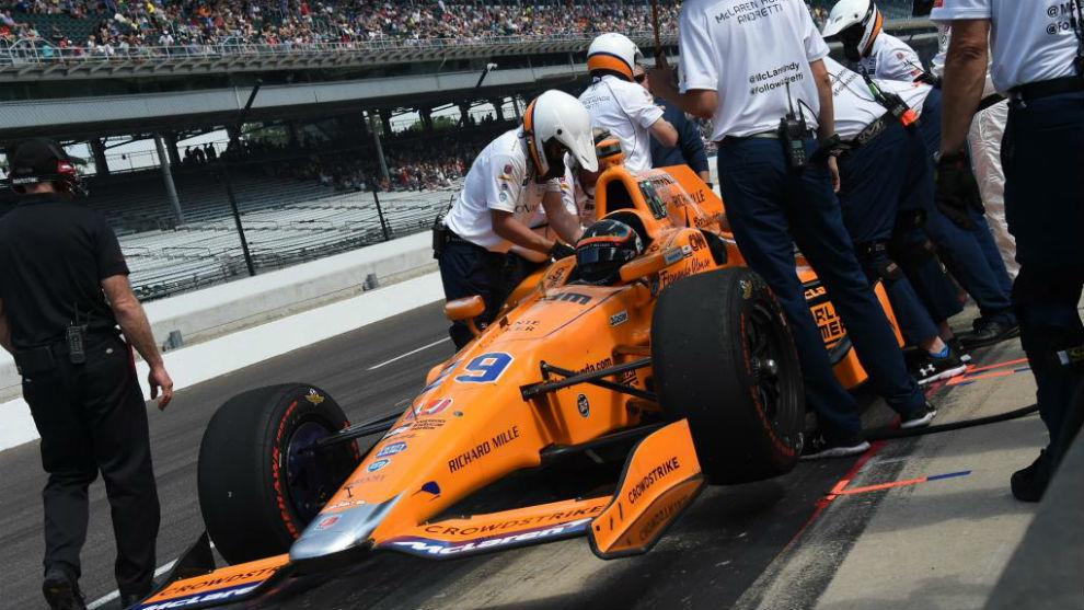 Alonso, durante las 500 Millas de 2017 con Andretti Autosport.