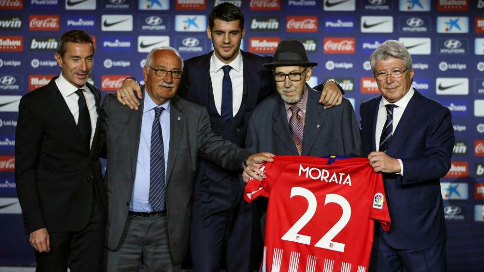 Manuel Briñas, en la presentación de Morata con el Atlético de...