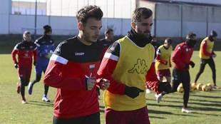 Chirivella, junto a Fran Cruz, en un entrenamiento reciente en...