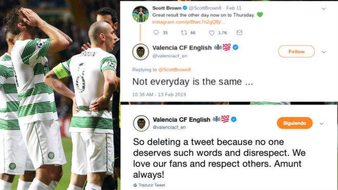 b0d0b3005 Valencia's English Twitter account deletes tweet to Celtic captain after  flurry of insults