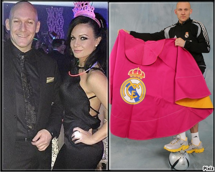 Thomas Gravesen posing with Kamila Persse, and with a bullfighter's...