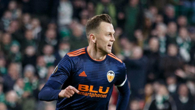 Cheryshev celebrates his goal against Celtic in Glasgow.