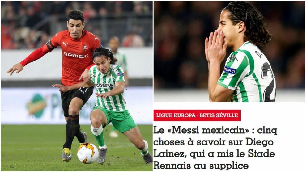 Diego Lainez, ante el Rennes (izquierda). / Publicación sobre Lainez...