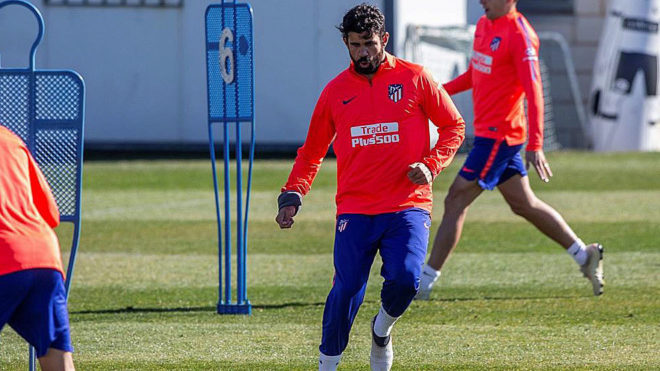 Diego Costa during Friday's training session.