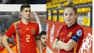 Carlos Ortiz y Anita Luján, capitán y capitana de España de fútbol...