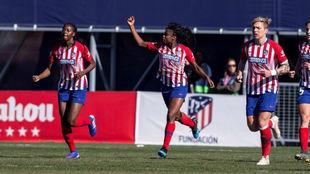 Ludmila da Silva celebra uno de los goles en la Ciudad Deportiva...