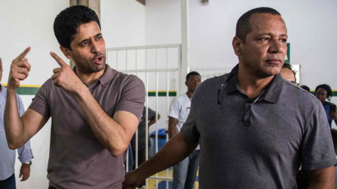 PSG president Nasser Al-Khelaifi alongside Neymar Sr.