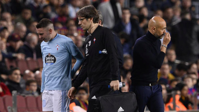 Aspas se lesionó el 22 de diciembre en el Camp Nou y ha vuelto a recaer.