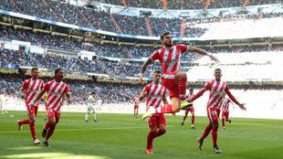 Portu, celebrando el gol en el Bernabéu.