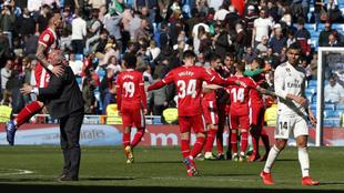 La alegría de Girona al término del partido