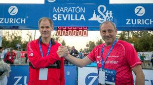 Abel Antón y Fermín Cacho en la línea de salida del Maratón de...