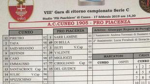 Ficha previa al partido entre Cuneo y Pro Piacenza.