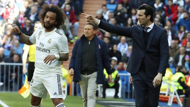 Solari da instrucciones ante Marcelo en el partido frente al Girona.