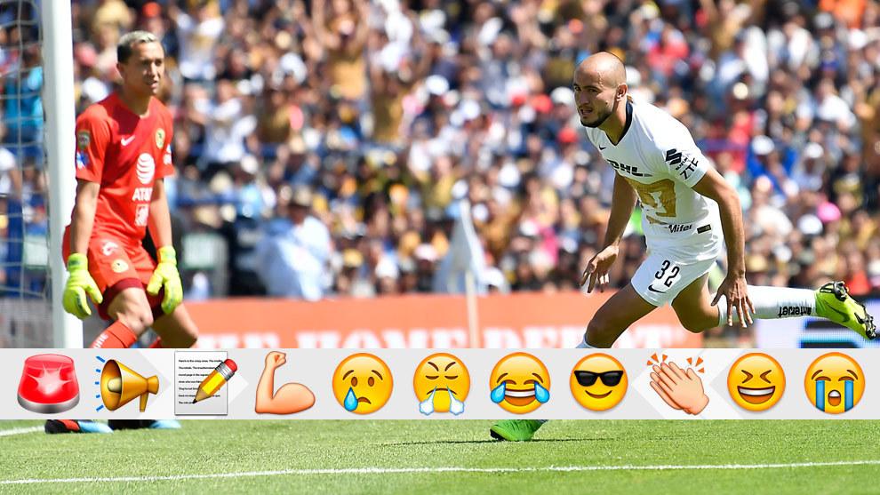 Carlos González en festejo de gol ante el América.