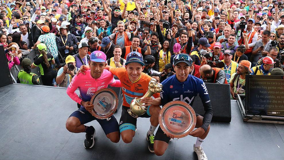 Martínez, López y Sosa, la juventud en el podio del Tour Colombia.