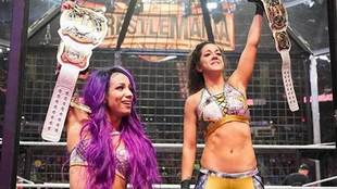 Bayley and Sasha Banks were victorious in the tag team women's...