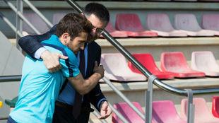 Jordi Alba y Josep Maria Bartomeu.