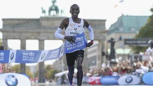Kipchoge, en la llegada del maratón de Berlín donde batió el...