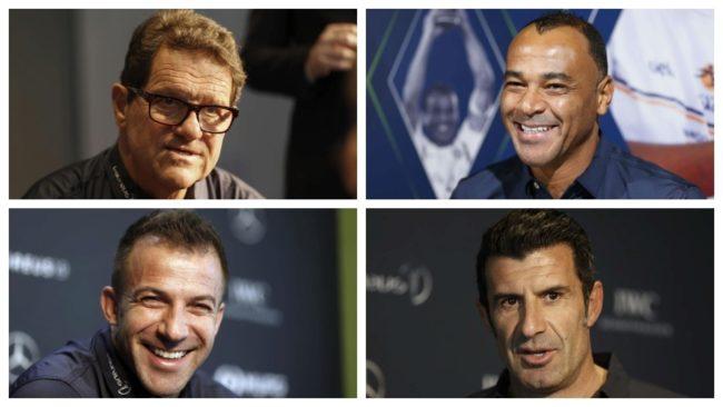 Fabio Capello, Cafú, Alessandro del Piero y Luis Figo.