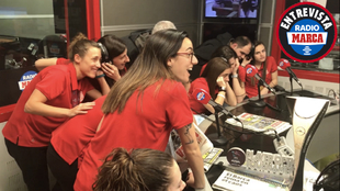 Las chicas de la selección española de fútbol sala durante la...