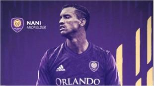 Nani, en la imagen del fichaje oficial anunciado por el Orlando City.