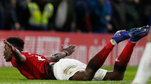 Pogba celebrates his goal against Chelsea.