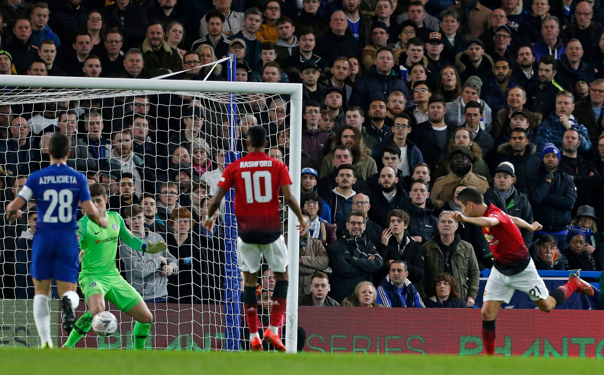 Manchester Uniteds Spanish midfielder <HIT>Ander</HIT><HIT>Herrera</HIT> (R) heads the opening goal past Chelseas Spanish goalkeeper Kepa Arrizabalaga (2nd L) during the English FA Cup fifth round football match between Chelsea and Manchester United at Stamford Bridge in London on February 18, 2019. (Photo by Ian KINGTON / AFP) / RESTRICTED TO EDITORIAL USE. No use with unauthorized audio, video, data, fixture lists, club/league logos or live services. Online in-match use limited to 120 images. An additional 40 images may be used in extra time. No video emulation. Social media in-match use limited to 120 images. An additional 40 images may be used in extra time. No use in betting publications, games or single club/league/player publications. /