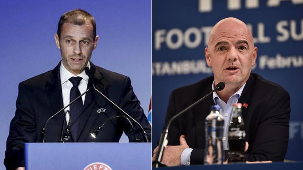 Ceferin e Infantino, presidentes de UEFA y FIFA, respectivamente