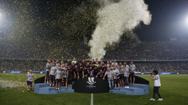 Barcelona celebrate winning the Spanish Super Cup in Tangier.