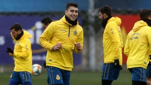 Marc Roca, en una sesión de entrenamiento