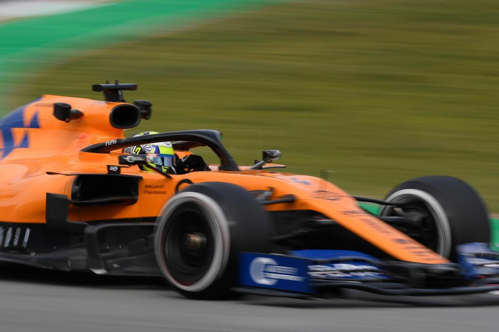 McLarens British driver Lando Norris drives during the tests for the new <HIT>Formula</HIT> One Grand Prix season at the Circuit de Catalunya in Montmelo in the outskirts of Barcelona, on February 19, 2019. (Photo by LLUIS GENE / AFP)