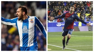 Borja Iglesias y Enric Gallego celebran un gol.