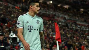 James, en un momento del Liverpool-Bayern disputado en Anfield.