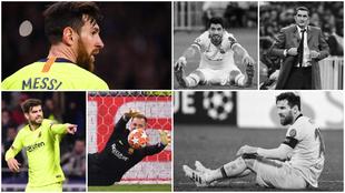 Messi, Piqué, Ter Stegen, Suárez y Valverde, ante el Lyon.