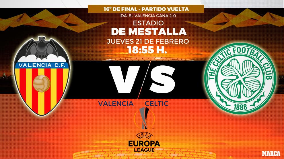 Valencia - Cetic de Glasgow - 18:55 horas - 21/02/2019 - Europa League