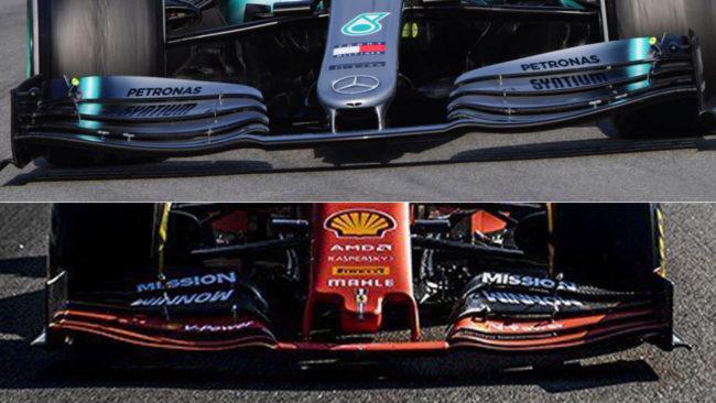Diferencia entre las alas del Merecedes (arriba) y Ferrari (debajo)