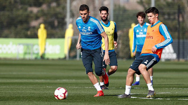 Ceballos, Isco, Brahim and Odriozola during the training session.
