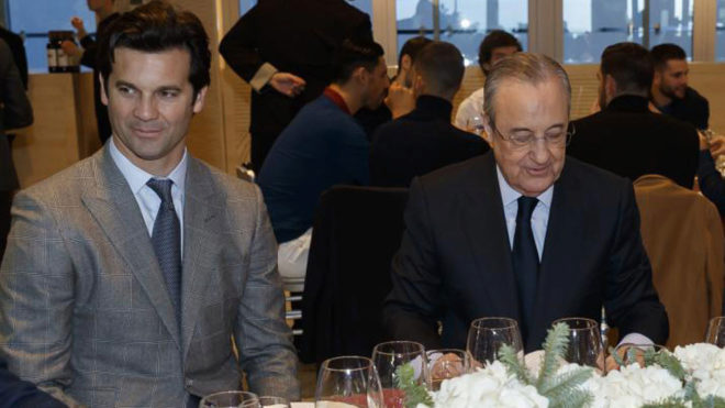 Santiago Solari and Florentino Pérez during a club-related event.