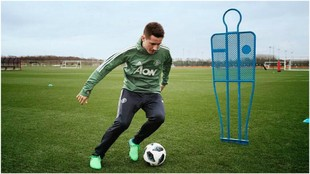 Ander Herrera presenting Adidas' new boots, the Deadly Strike.