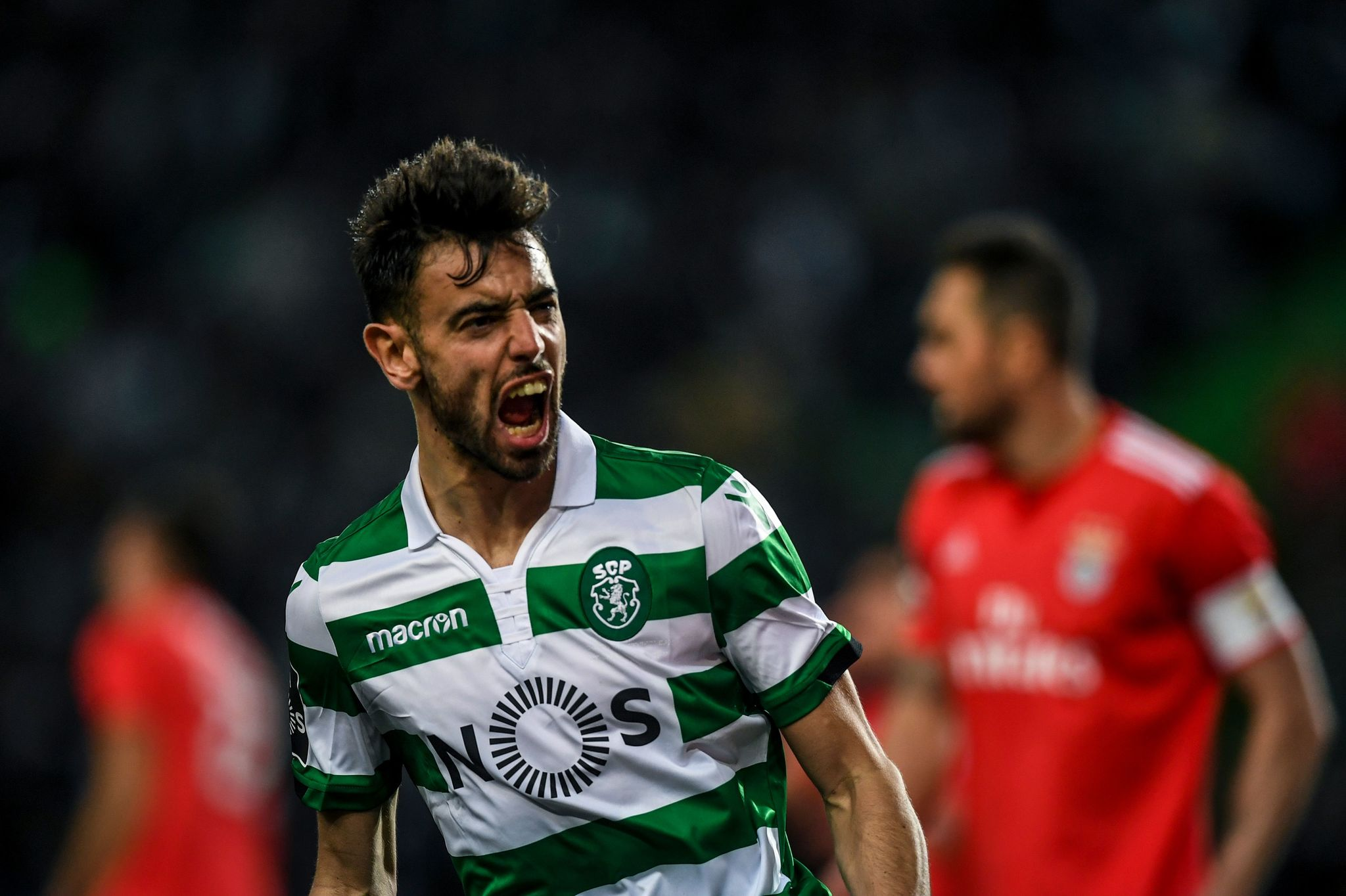 Sportings midfielder <HIT>Bruno</HIT><HIT>Fernandes</HIT> celebrates after scoring during the Portuguese League football match between Sporting CP and SL Benfica at the Jose Alvalade stadium in Lisbon on February 3, 2019. (Photo by PATRICIA DE MELO MOREIRA / AFP)