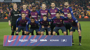 Barcelona's line-up for a match this season.