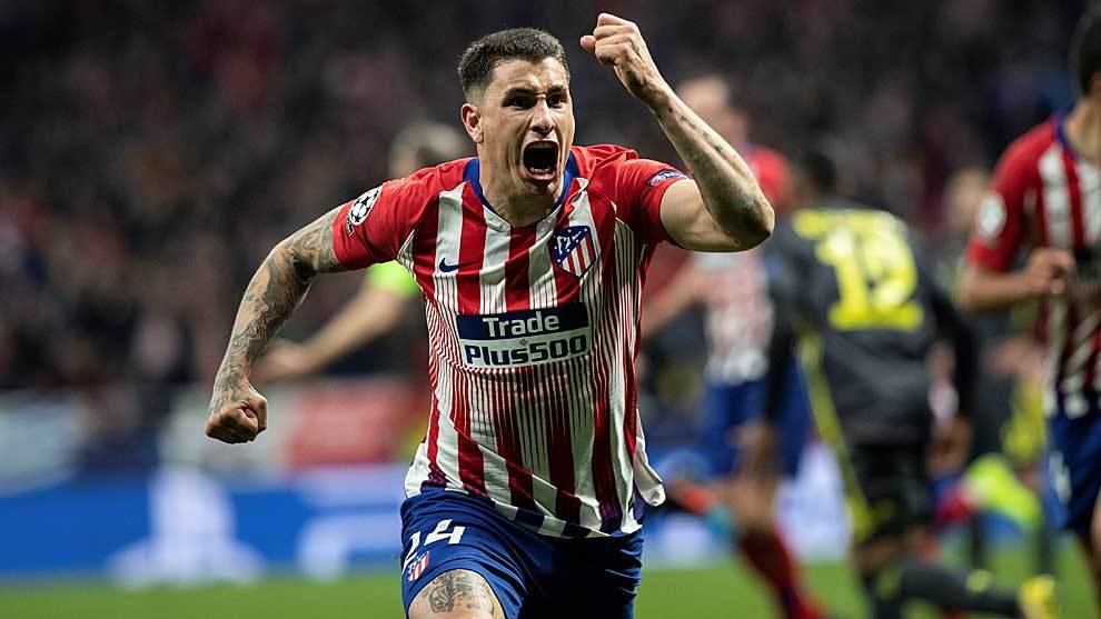 Jose Maria Gimenez celebrates his goal.