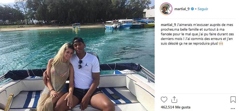 Martial le pide perdón a su prometida Melanie Da Cruz por su intento...